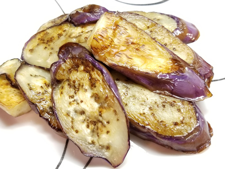 Pan-fried eggplant with miso sauce Stock Photo