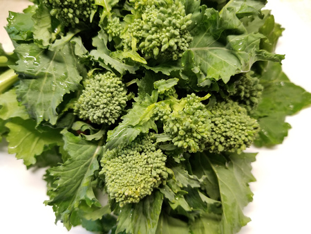 Uncooked broccoli rabe on a white background Imagens