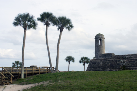 Palm trees and part of the fortress at Castillo de San Marcos national monument in St. Augustine, Florida USA