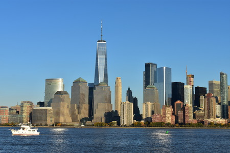 View of NYC Waterway and World Financial Center from Liberty State Park in Jersey City, New Jersey Stock Photo