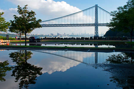 George Washington Bridge with reflection in the Hudson River viewed from Ross Dock picnic area, Fort Lee, NJ -11