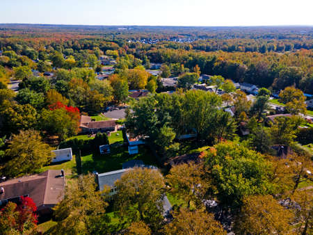 Aerial view of Autumn foliage colors in a section of the town of Old Bridge, in New Jersey