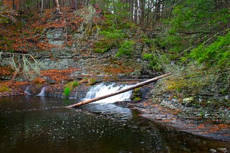 Water rushing down Raymondskill Falls, a series of waterfalls in Dingman, Pennsylvania.-02