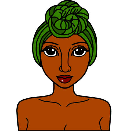 black woman with african head wrap