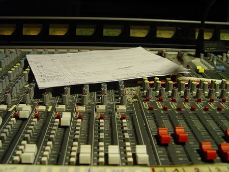 producer: The board of the sound producer                          Stock Photo