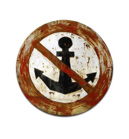 forbidding: The sign forbidding a stop of a vessel. Isolation on a white background                         Stock Photo