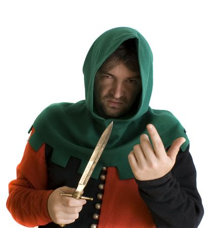 threatens: Robber in an ancient suit threatens with a knife