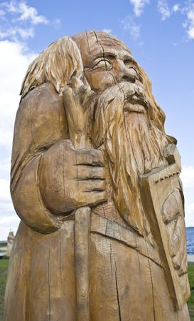 onega: Wooden public statue on quay of Onega in Petrozavodsk, Russia   Stock Photo