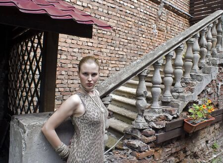 Beautiful girl on a old ladder and a brick wall backgrounds photo