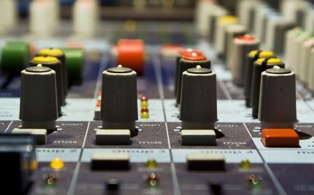 regulators: Sound producer mixer. Regulators. Close-up