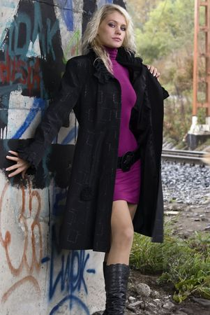prostitute: Beautiful woman on railway tracks Stock Photo