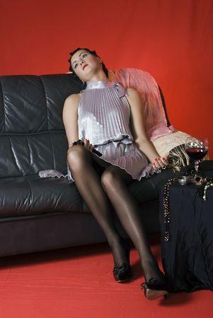 poisoning: Donna giovane avvelenata. Studio girato in stile retr�
