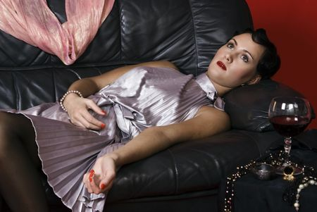 Strangled or poisoned beautiful young woman photo
