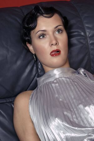 Strangled beautiful young woman. Studio shot in a retro style Stock Photo - 6262382