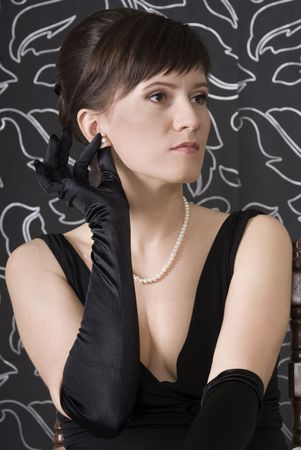 aristocratic: Aristocratic lady in an evening dress. Retro stylization Stock Photo