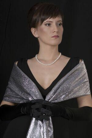 aristocrático: Retrato de dama aristocr�tica. Estilizaci�n retro