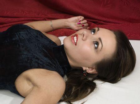 Crime scene: young dead woman. Studio shot. Stock Photo - 6275679