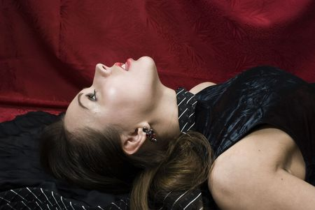 Crime scene: young strangled woman. Studio shot. Stock Photo - 6275712