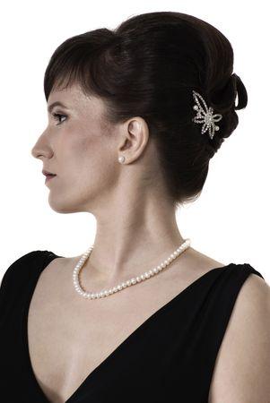 Portrait of aristocratic lady in an evening dress. Retro stylization  photo