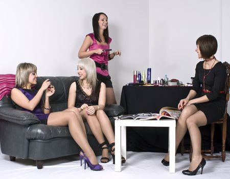 attractive lady: Picture of four attractive joyful girls on a party