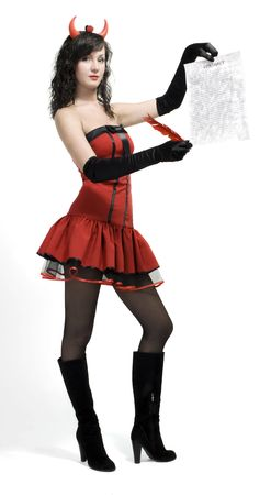 Beauty red devil girl with a contract and pen over white Stock Photo - 7495092