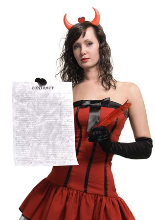 Beauty attractive red devil girl with a contract over white Stock Photo - 7495119