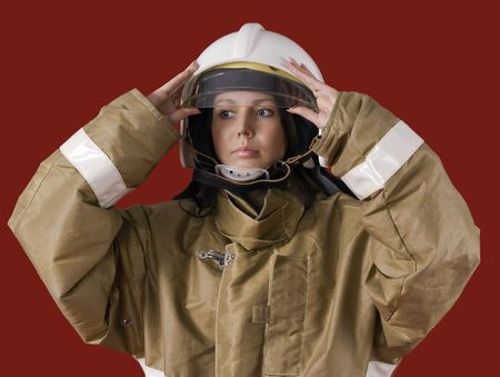 Picture of a girl in fireman uniform Stock Photo - 7495190