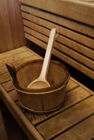 Picture of the internal interiors of a sauna Stock Photo