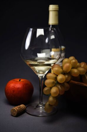 Picture of a still-life with fruit and wine glass  photo