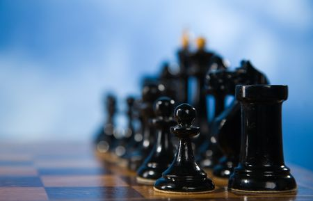 Picture of the chessmen on a chessboard Stock Photo