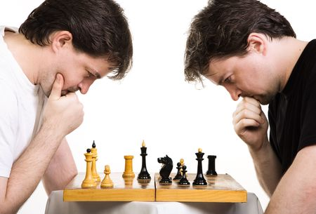 Chess players. Two men play a chess Stock Photo - 7563168