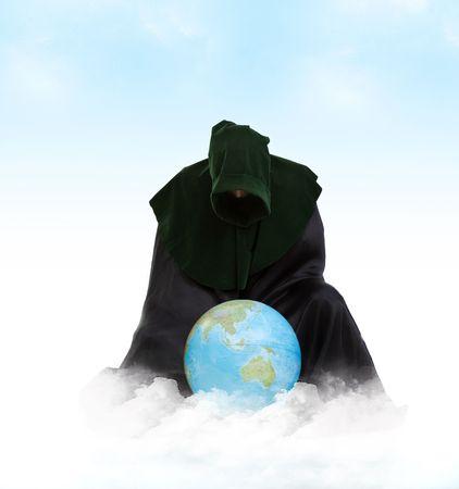 creador: Creador del universo. Hombre de demiurgo con bola global
