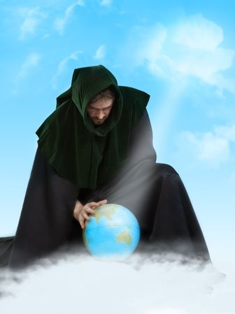 Creator of the Universe. Demiurge man with global ball Stock Photo - 7569734