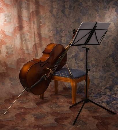 cello: foto del vecchio violoncello in un interno