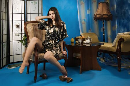 Attractive pretty lady sitting in the armchair Stock Photo - 9125075