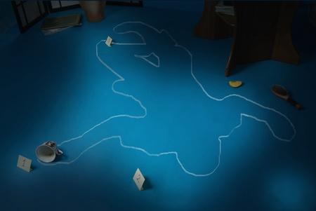 beroofd: Plaats delict met het silhouet van de slachtoffer cirkel   Stockfoto
