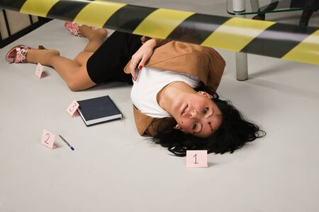 Crime scene in a office with dead secretary Stock Photo - 9125626