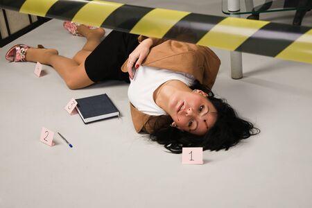 assassination: Crime scene in a office with dead secretary Stock Photo