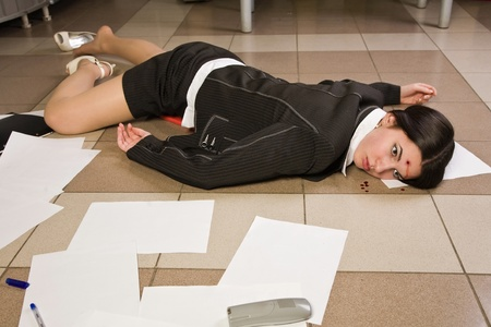 bullet proof: Crime scene in a office with dead secretary Stock Photo