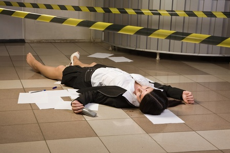 an investigation: Crime scene in a office with dead secretary Stock Photo