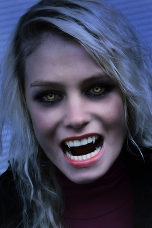 Portrait of a angry female vampire
