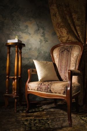 Luxurious vintage interior with armchair in the aristocratic style photo