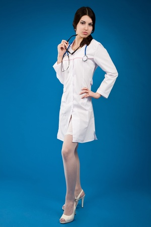 A pretty young nurse with a stethoscope photo