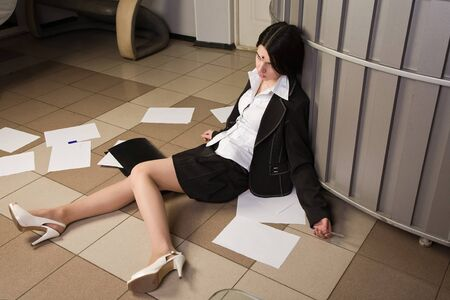 Crime scene with killed businesswoman in a office Stock Photo - 9137662