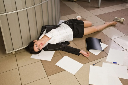 Crime scene with killed businesswoman in a office Stock Photo - 9137641