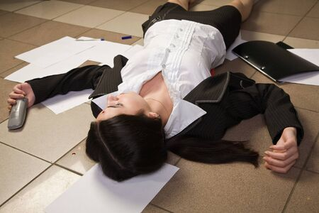 Crime scene with killed businesswoman in a office Stock Photo - 9137633