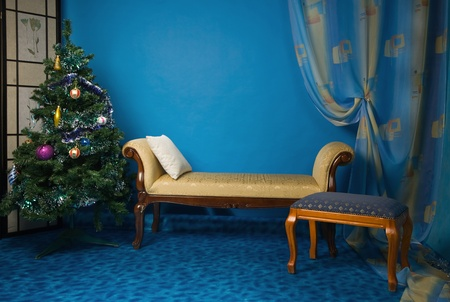 Interior of the New Year boudoir in the blue colors  photo