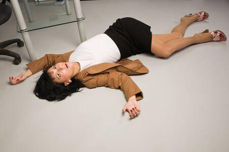 police girl: Crime scene in a office with dead secretary Stock Photo