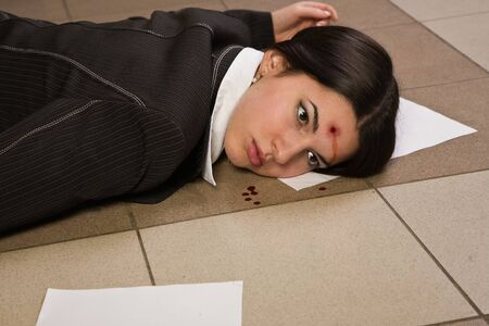 Face of the lifeless killed businesswoman in a office Stock Photo - 9137781