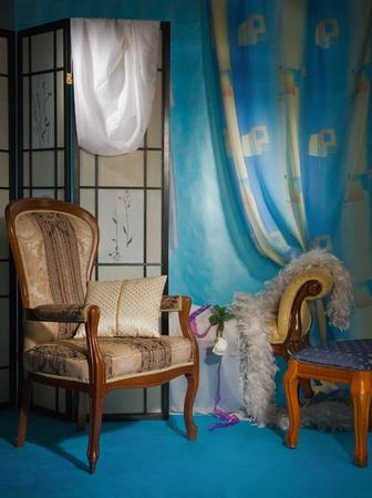 curtain design: Interni raffinati boudoir nei colori blu